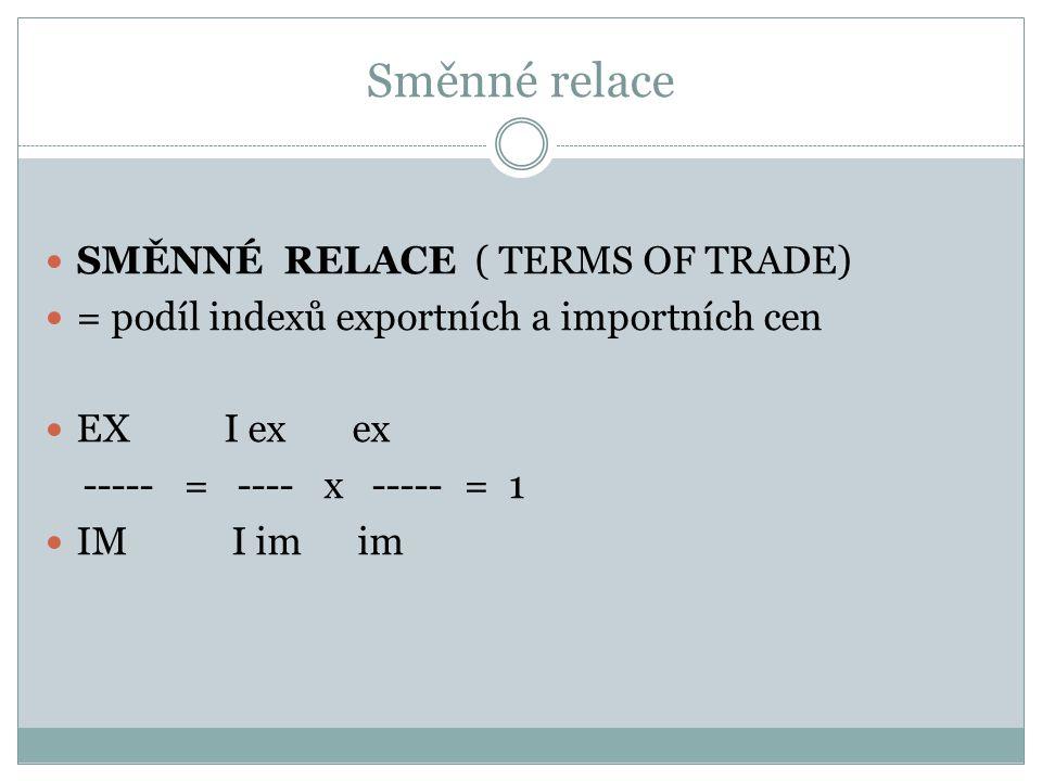 Směnné relace SMĚNNÉ RELACE ( TERMS OF TRADE) = podíl indexů exportních a importních cen EX I ex ex ----- = ---- x ----- = 1 IM I im im