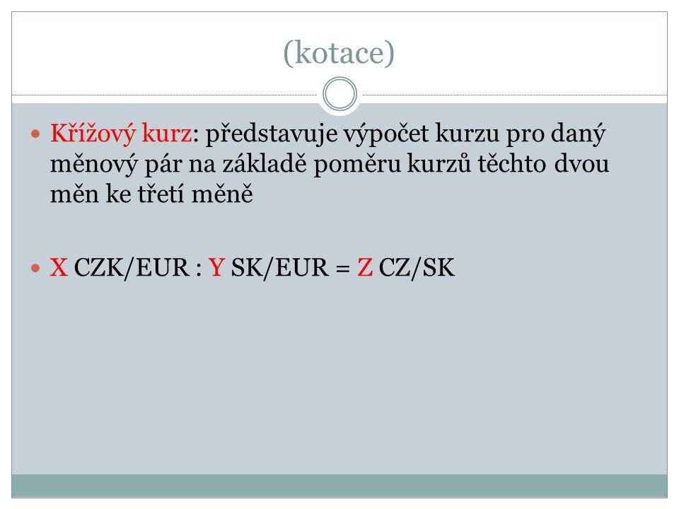 (kotace) Křížový kurz: představuje výpočet kurzu pro daný měnový pár na základě poměru kurzů těchto dvou měn ke třetí měně X CZK/EUR : Y SK/EUR = Z CZ/SK