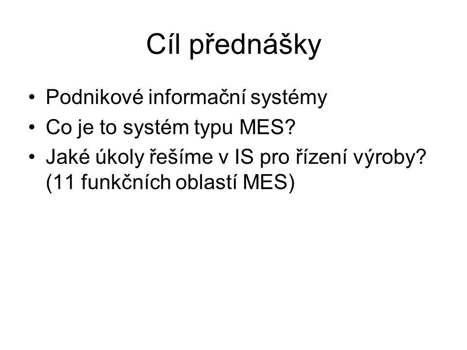 Cíl přednášky Podnikové informační systémy Co je to systém typu MES? Jaké úkoly řešíme v IS pro řízení výroby? (11 funkčních oblastí MES)