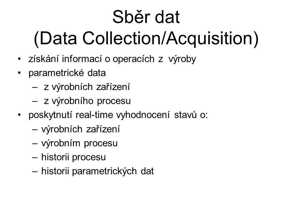Sběr dat (Data Collection/Acquisition) získání informací o operacích z výroby parametrické data – z výrobních zařízení – z výrobního procesu poskytnut