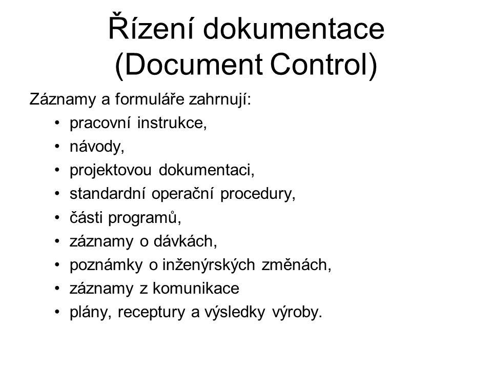 Řízení dokumentace (Document Control) Záznamy a formuláře zahrnují: pracovní instrukce, návody, projektovou dokumentaci, standardní operační procedury