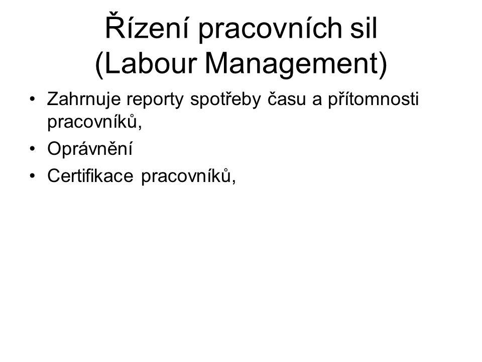 Řízení pracovních sil (Labour Management) Zahrnuje reporty spotřeby času a přítomnosti pracovníků, Oprávnění Certifikace pracovníků,