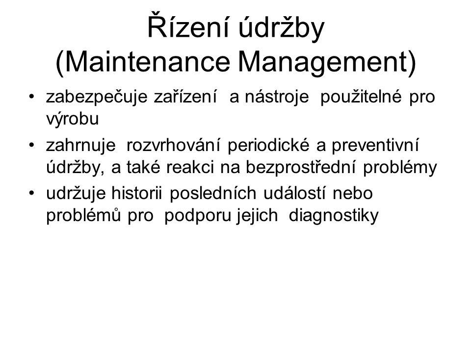 Řízení údržby (Maintenance Management) zabezpečuje zařízení a nástroje použitelné pro výrobu zahrnuje rozvrhování periodické a preventivní údržby, a t