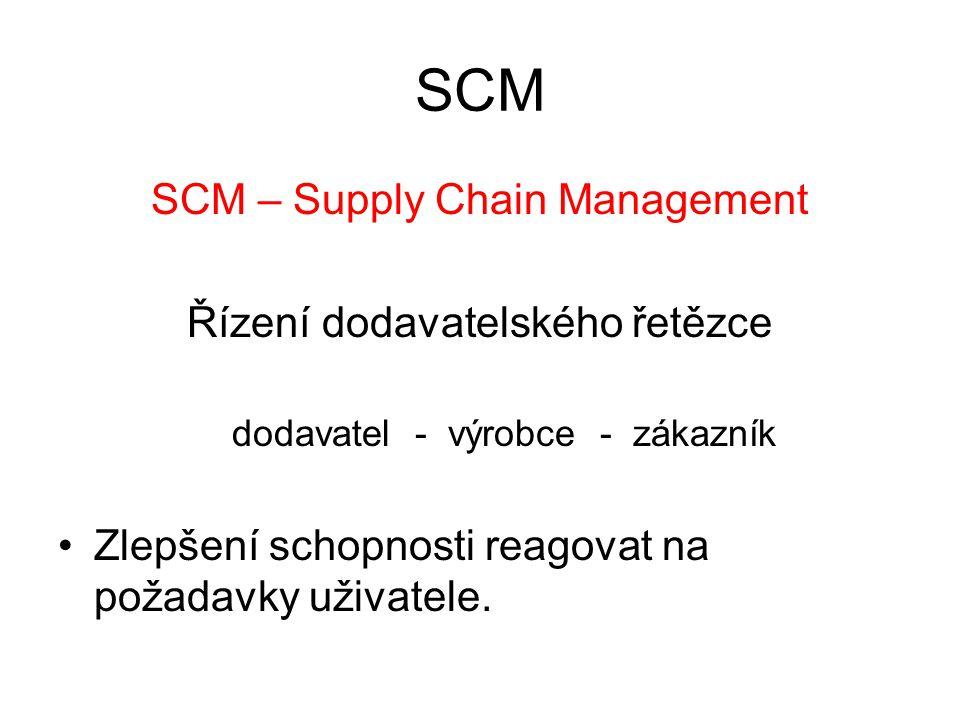 SCM SCM – Supply Chain Management Řízení dodavatelského řetězce dodavatel - výrobce - zákazník Zlepšení schopnosti reagovat na požadavky uživatele.
