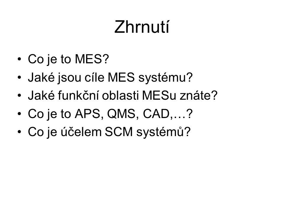 Zhrnutí Co je to MES? Jaké jsou cíle MES systému? Jaké funkční oblasti MESu znáte? Co je to APS, QMS, CAD,…? Co je účelem SCM systémů?