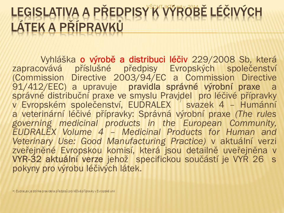 Vyhláška o výrobě a distribuci léčiv 229/2008 Sb, která zapracovává příslušné předpisy Evropských společenství (Commission Directive 2003/94/EC a Comm