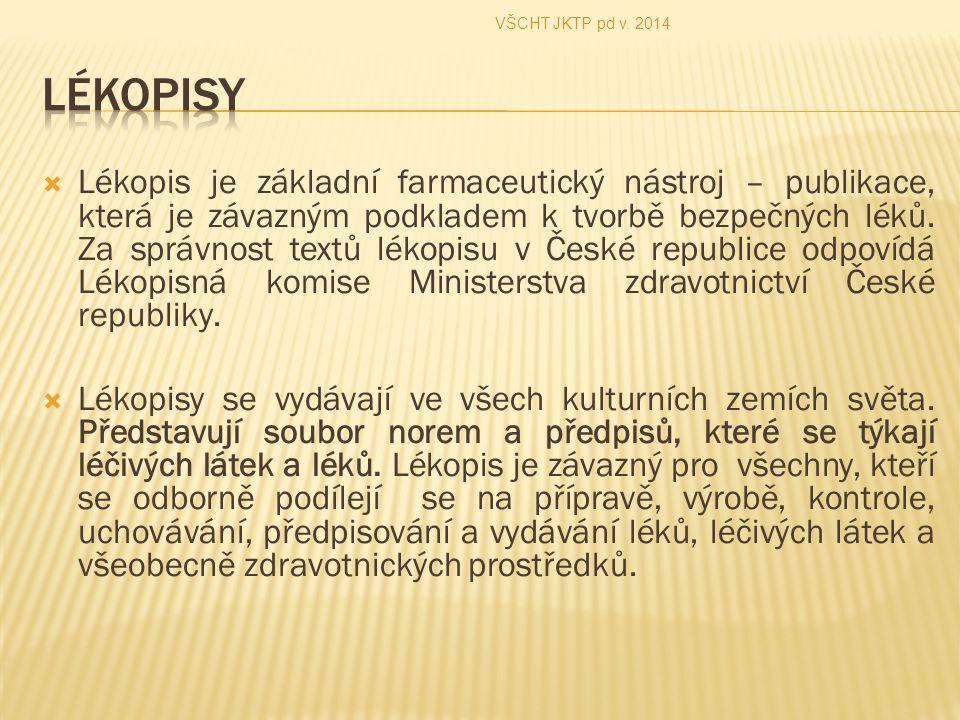  Lékopis je základní farmaceutický nástroj – publikace, která je závazným podkladem k tvorbě bezpečných léků. Za správnost textů lékopisu v České rep