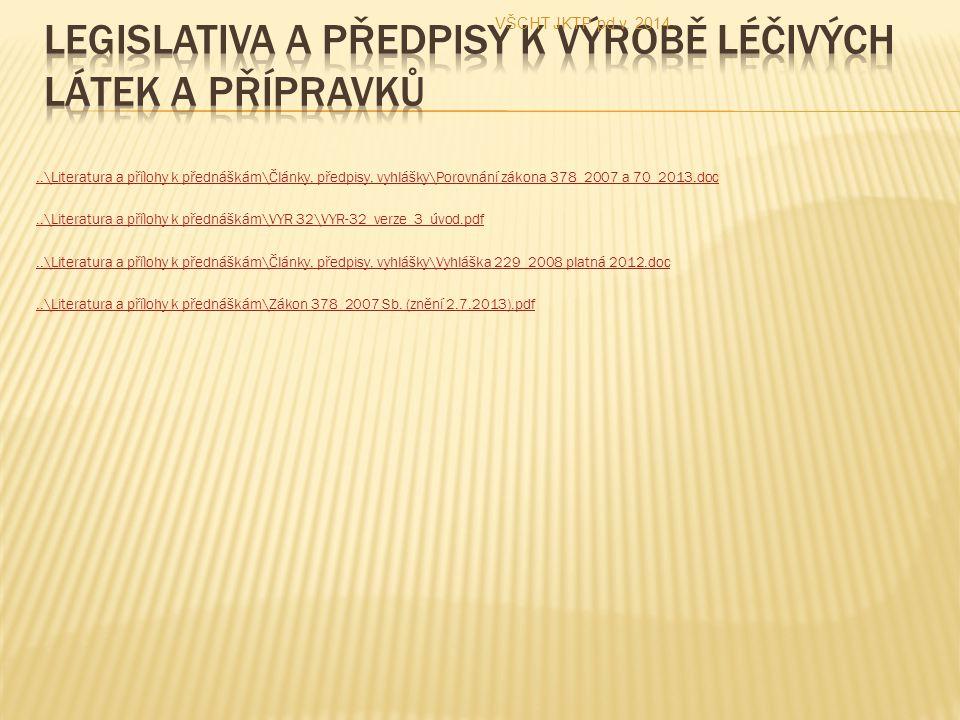 ..\Literatura a přílohy k přednáškám\Články, předpisy, vyhlášky\Porovnání zákona 378_2007 a 70_2013.doc..\Literatura a přílohy k přednáškám\VYR 32\VYR