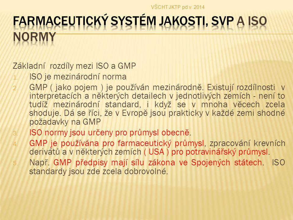 Základní rozdíly mezi ISO a GMP 1.ISO je mezinárodní norma 2.