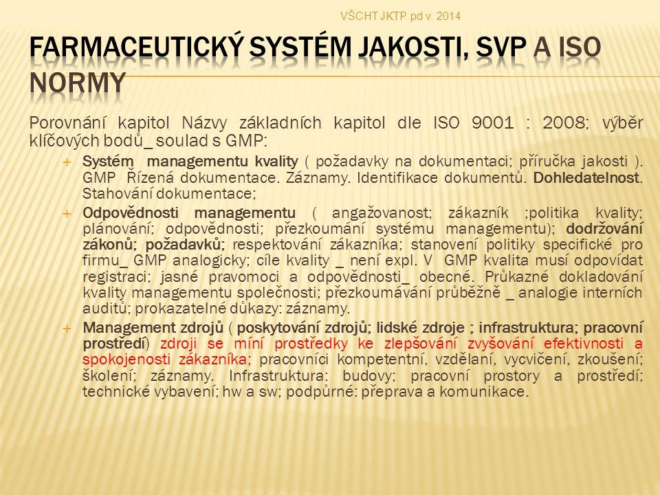 Porovnání kapitol Názvy základních kapitol dle ISO 9001 : 2008; výběr klíčových bodů_ soulad s GMP:  Systém managementu kvality ( požadavky na dokumentaci; příručka jakosti ).