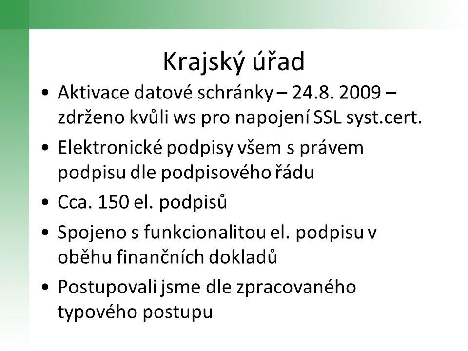Krajský úřad Aktivace datové schránky – 24.8. 2009 – zdrženo kvůli ws pro napojení SSL syst.cert. Elektronické podpisy všem s právem podpisu dle podpi