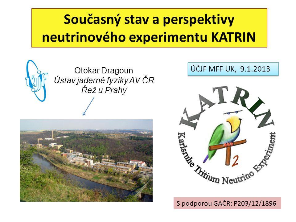 Dřívější příspěvky ÚJF k neutrinové fyzice 1.Kalibrace elektronového děla pro β spektroskopii tritia FWHM = 0.5 eV 2.Příměs δ těžkých neutrin v β rozpadu 241 Pu 16 keV ν: δ <0.1 % doba měření : 6000 h Augerovy čáry KLL uhlíku a kyslíku Naše MC výpočty objasnily příčinu: e - rozptyl na clonách polovodičového spektrometru 3.