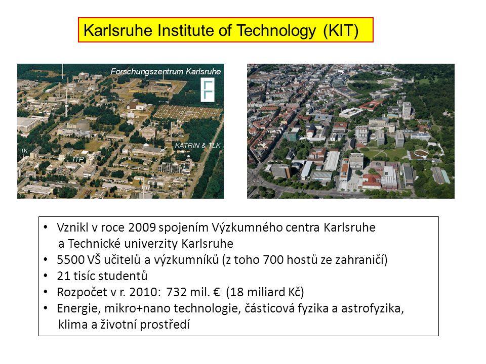 Karlsruhe Institute of Technology (KIT) Vznikl v roce 2009 spojením Výzkumného centra Karlsruhe a Technické univerzity Karlsruhe 5500 VŠ učitelů a výzkumníků (z toho 700 hostů ze zahraničí) 21 tisíc studentů Rozpočet v r.