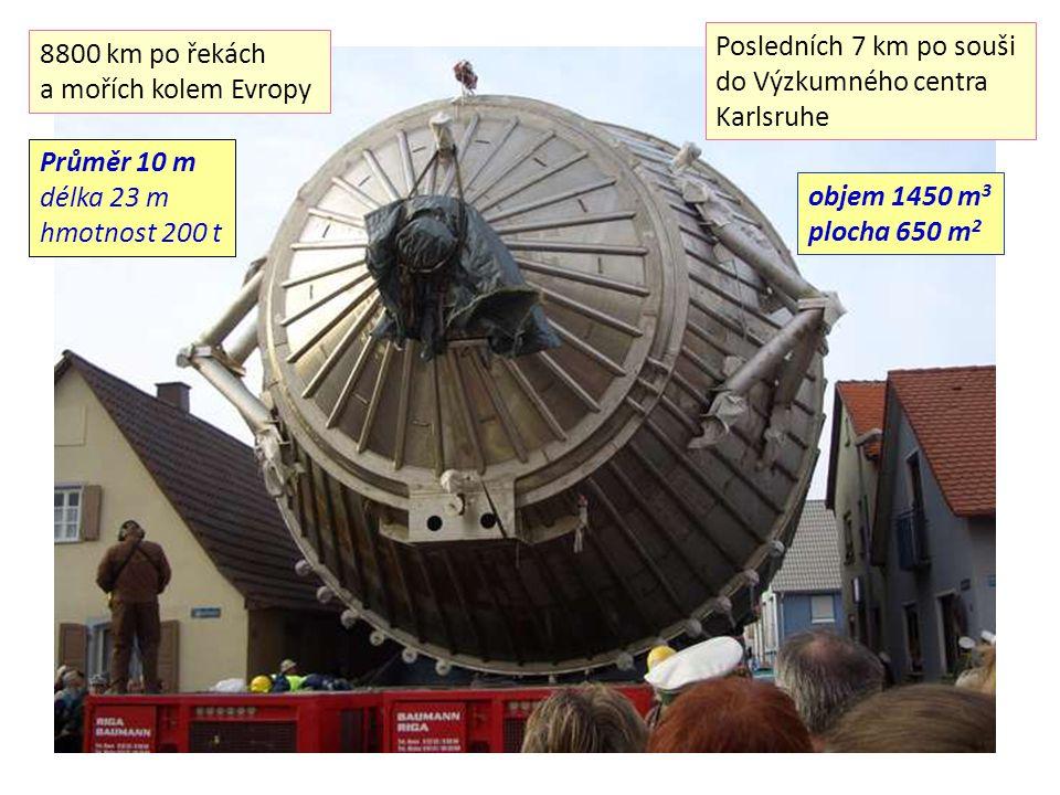Posledních 7 km po souši do Výzkumného centra Karlsruhe 8800 km po řekách a mořích kolem Evropy Průměr 10 m délka 23 m hmotnost 200 t objem 1450 m 3 p