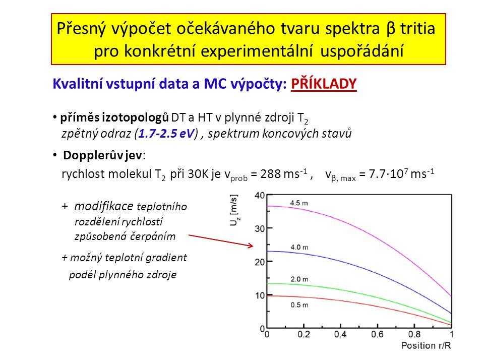Přesný výpočet očekávaného tvaru spektra β tritia pro konkrétní experimentální uspořádání Kvalitní vstupní data a MC výpočty: PŘÍKLADY příměs izotopologů DT a HT v plynné zdroji T 2 zpětný odraz (1.7-2.5 eV), spektrum koncových stavů Dopplerův jev: rychlost molekul T 2 při 30K je v prob = 288 ms -1, v β, max = 7.7·10 7 ms -1 + modifikace teplotního rozdělení rychlostí způsobená čerpáním + možný teplotní gradient podél plynného zdroje