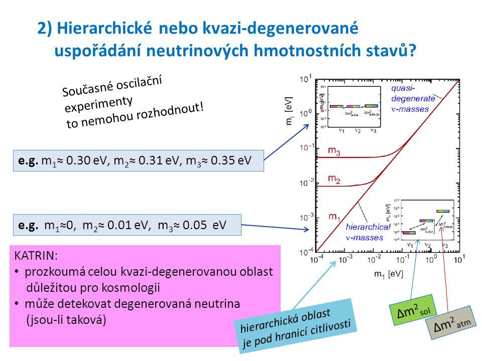 2) Hierarchické nebo kvazi-degenerované uspořádání neutrinových hmotnostních stavů? e.g. m 1 ≈0, m 2 ≈ 0.01 eV, m 3 ≈ 0.05 eV e.g. m 1 ≈ 0.30 eV, m 2