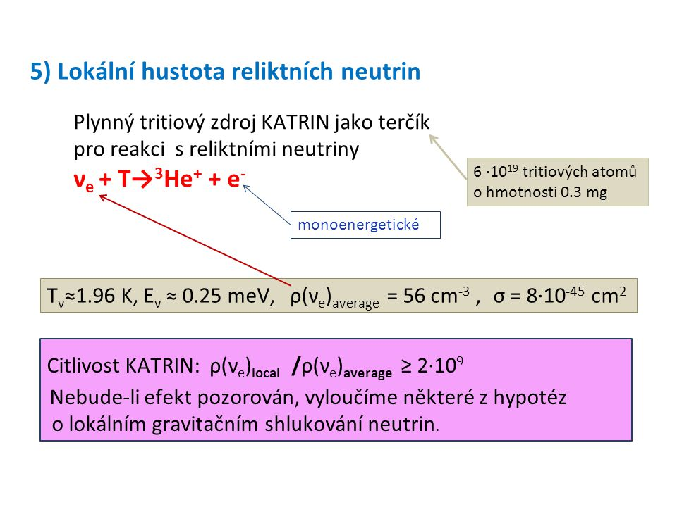 5) Lokální hustota reliktních neutrin Plynný tritiový zdroj KATRIN jako terčík pro reakci s reliktními neutriny ν e + T→ 3 He + + e - Citlivost KATRIN