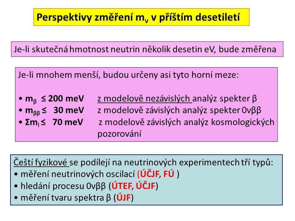 Perspektivy změření m ν v příštím desetiletí Je-li skutečná hmotnost neutrin několik desetin eV, bude změřena Je-li mnohem menší, budou určeny asi tyto horní meze: m β ≤ 200 meV z modelově nezávislých analýz spekter β m ββ ≤ 30 meV z modelově závislých analýz spekter 0νββ Σm i ≤ 70 meV z modelově závislých analýz kosmologických pozorování Čeští fyzikové se podílejí na neutrinových experimentech tří typů: měření neutrinových oscilací (ÚČJF, FÚ ) hledání procesu 0νββ (ÚTEF, ÚČJF) měření tvaru spektra β (ÚJF)