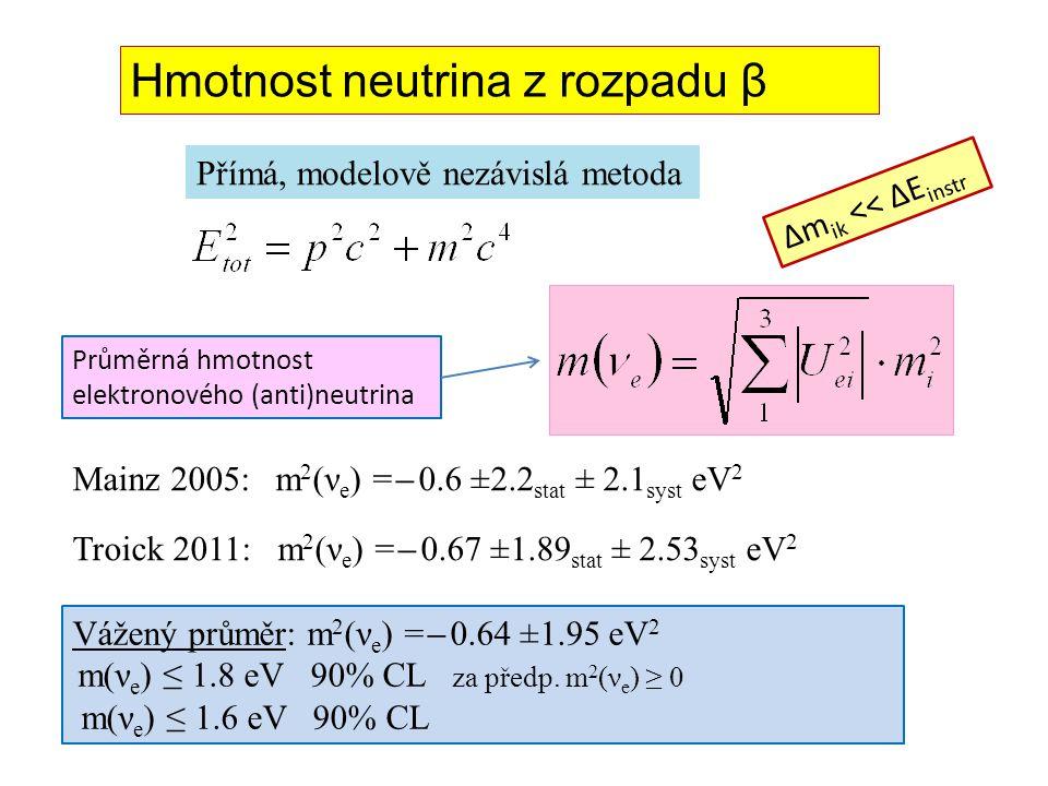 Hmotnost neutrina z rozpadu β Mainz 2005: m 2 (ν e ) = ̶ 0.6 ±2.2 stat ± 2.1 syst eV 2 Troick 2011: m 2 (ν e ) = ̶ 0.67 ±1.89 stat ± 2.53 syst eV 2 Pr