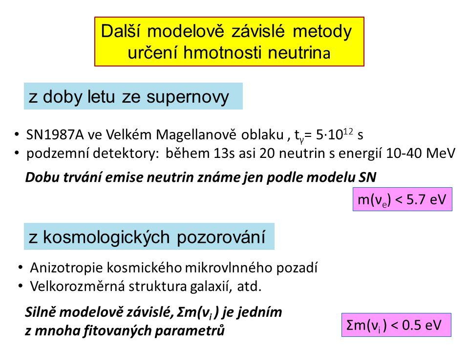 z kosmologických pozorování z doby letu ze supernovy Další modelově závislé metody určení hmotnosti neutrin a SN1987A ve Velkém Magellanově oblaku, t γ = 5·10 12 s podzemní detektory: během 13s asi 20 neutrin s energií 10-40 MeV Dobu trvání emise neutrin známe jen podle modelu SN m(ν e ) < 5.7 eV Anizotropie kosmického mikrovlnného pozadí Velkorozměrná struktura galaxií, atd.