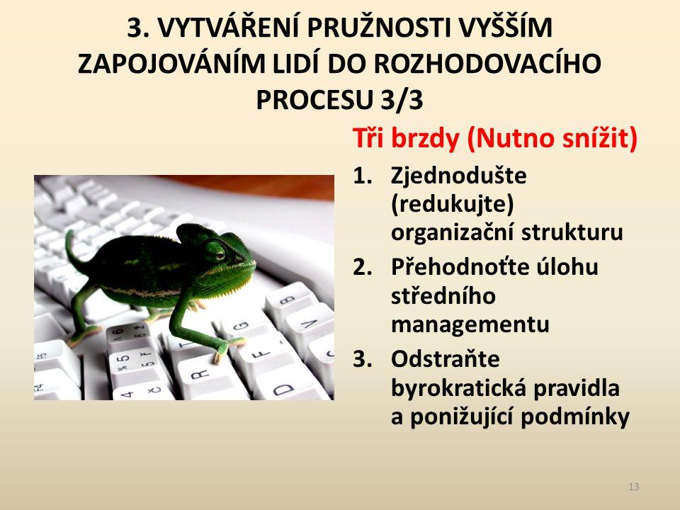 3. VYTVÁŘENÍ PRUŽNOSTI VYŠŠÍM ZAPOJOVÁNÍM LIDÍ DO ROZHODOVACÍHO PROCESU 3/3 Tři brzdy (Nutno snížit) 1.Zjednodušte (redukujte) organizační strukturu 2