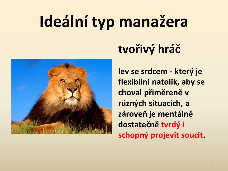 Ideální typ manažera tvořivý hráč lev se srdcem - který je flexibilní natolik, aby se choval přiměreně v různých situacích, a zároveň je mentálně dost