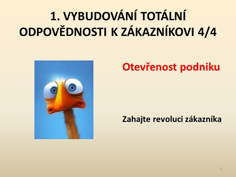 1. VYBUDOVÁNÍ TOTÁLNÍ ODPOVĚDNOSTI K ZÁKAZNÍKOVI 4/4 Otevřenost podniku Zahajte revoluci zákazníka 6