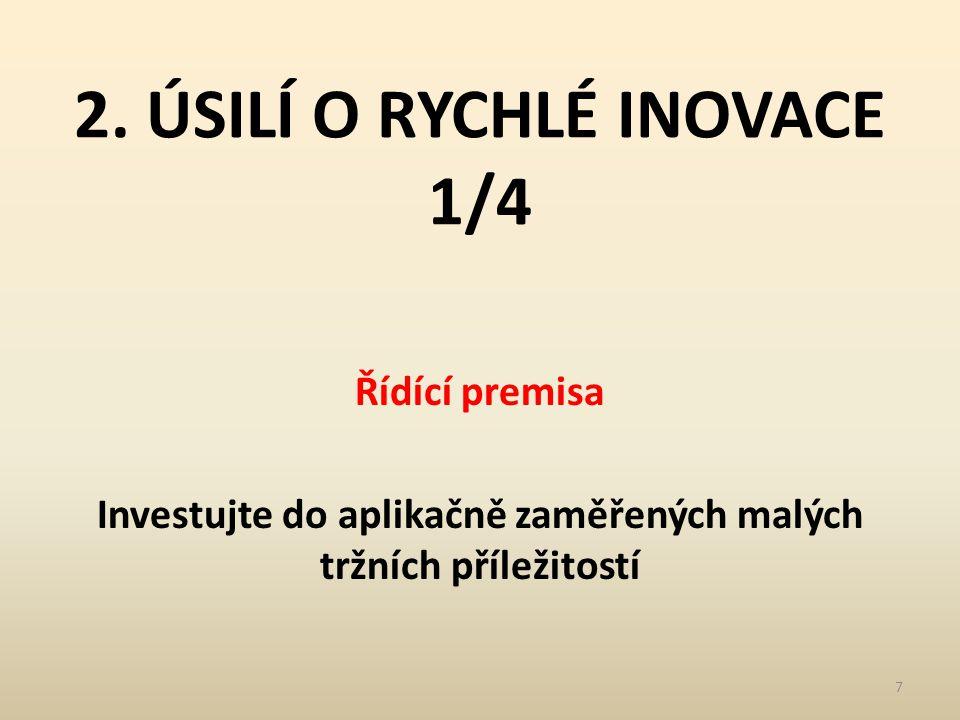 2. ÚSILÍ O RYCHLÉ INOVACE 1/4 Řídící premisa Investujte do aplikačně zaměřených malých tržních příležitostí 7