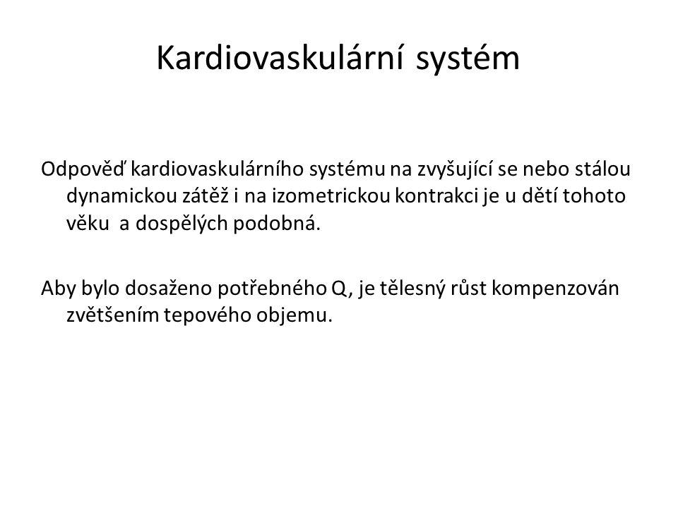 Kardiovaskulární systém Odpověď kardiovaskulárního systému na zvyšující se nebo stálou dynamickou zátěž i na izometrickou kontrakci je u dětí tohoto v