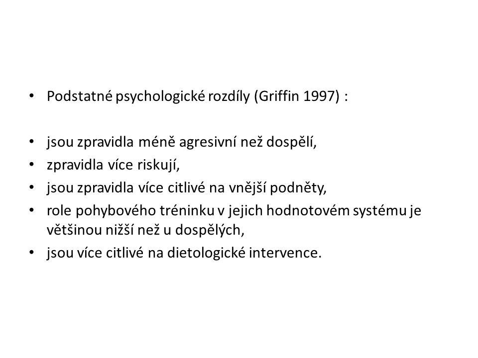 Podstatné psychologické rozdíly (Griffin 1997) : jsou zpravidla méně agresivní než dospělí, zpravidla více riskují, jsou zpravidla více citlivé na vně