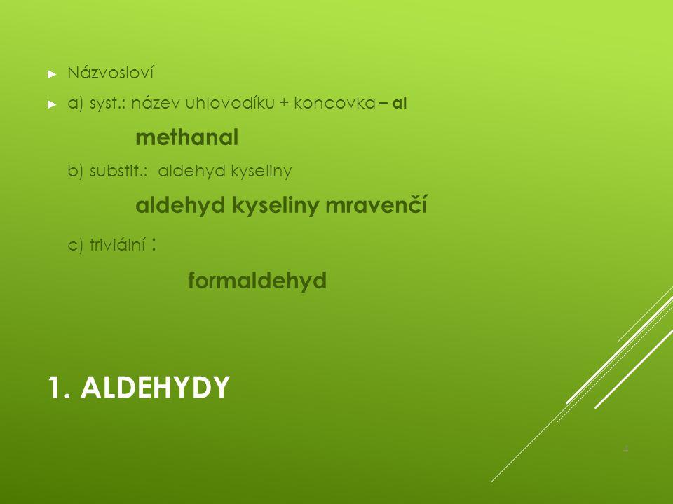 1. ALDEHYDY ► Názvosloví ► a) syst.: název uhlovodíku + koncovka – al methanal b) substit.: aldehyd kyseliny aldehyd kyseliny mravenčí c) triviální :
