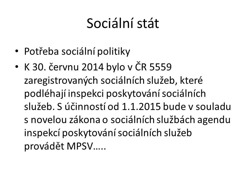 Sociální stát Potřeba sociální politiky K 30. červnu 2014 bylo v ČR 5559 zaregistrovaných sociálních služeb, které podléhají inspekci poskytování soci