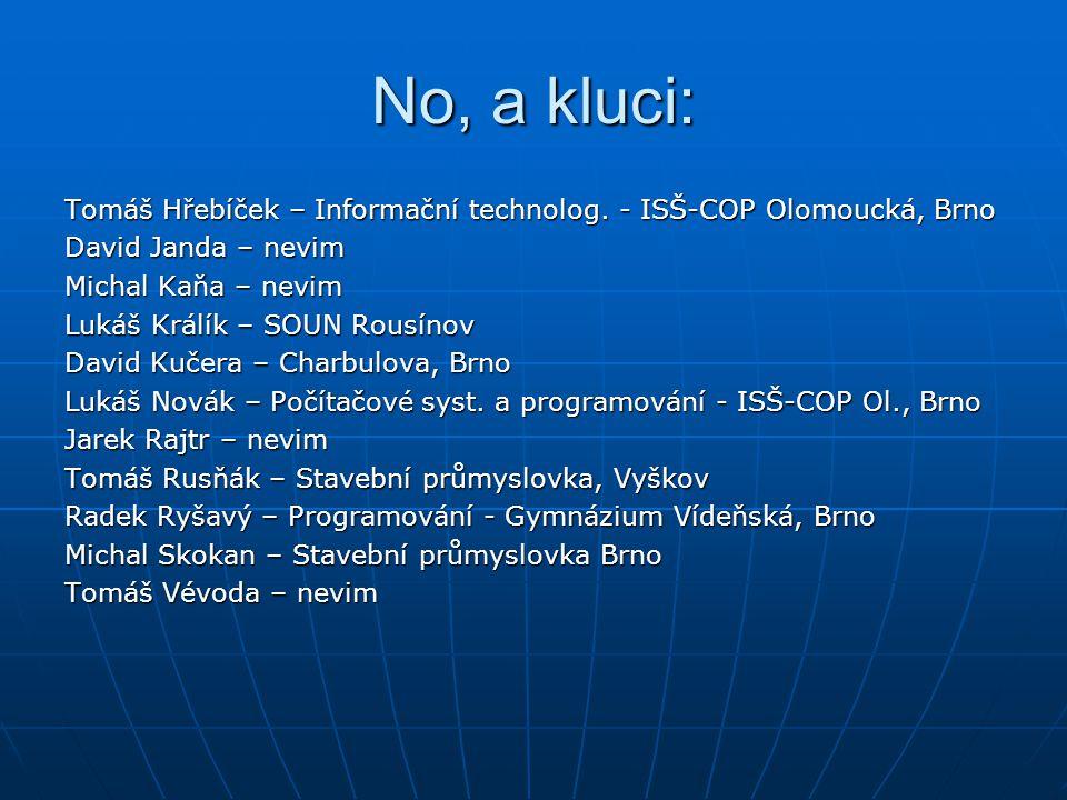 No, a kluci: Tomáš Hřebíček – Informační technolog. - ISŠ-COP Olomoucká, Brno David Janda – nevim Michal Kaňa – nevim Lukáš Králík – SOUN Rousínov Dav