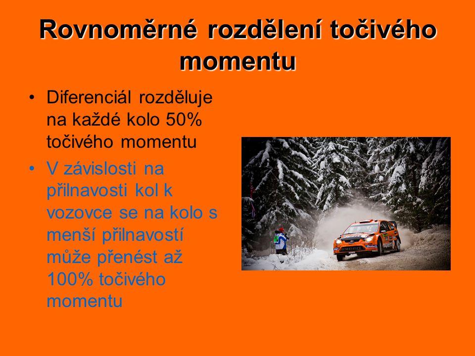 Rovnoměrné rozdělení točivého momentu Diferenciál rozděluje na každé kolo 50% točivého momentu V závislosti na přilnavosti kol k vozovce se na kolo s menší přilnavostí může přenést až 100% točivého momentu