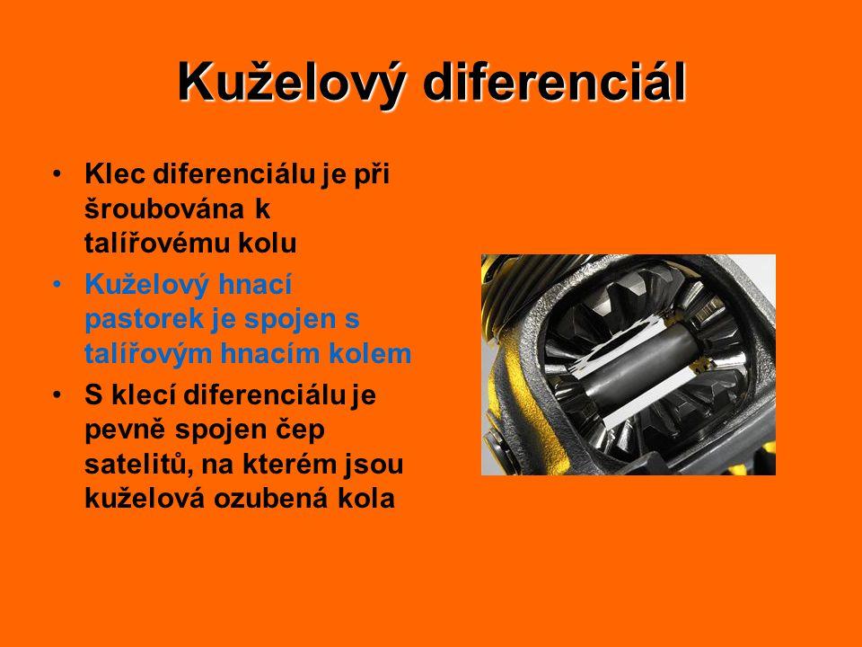 Kuželový diferenciál Klec diferenciálu je při šroubována k talířovému kolu Kuželový hnací pastorek je spojen s talířovým hnacím kolem S klecí diferenciálu je pevně spojen čep satelitů, na kterém jsou kuželová ozubená kola