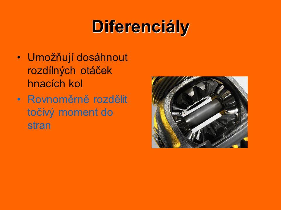 Diferenciály Umožňují dosáhnout rozdílných otáček hnacích kol Rovnoměrně rozdělit točivý moment do stran
