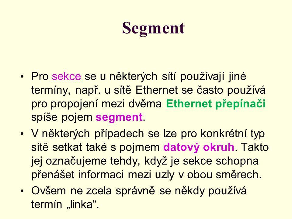 Segment Pro sekce se u některých sítí používají jiné termíny, např. u sítě Ethernet se často používá pro propojení mezi dvěma Ethernet přepínači spíše