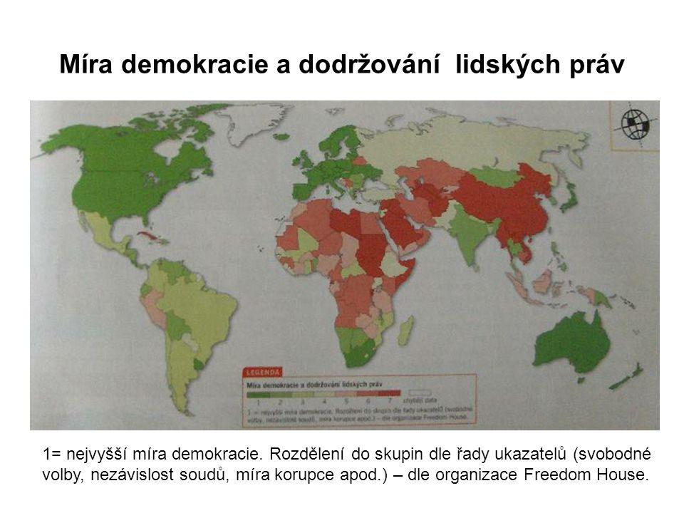 Míra demokracie a dodržování lidských práv 1= nejvyšší míra demokracie. Rozdělení do skupin dle řady ukazatelů (svobodné volby, nezávislost soudů, mír