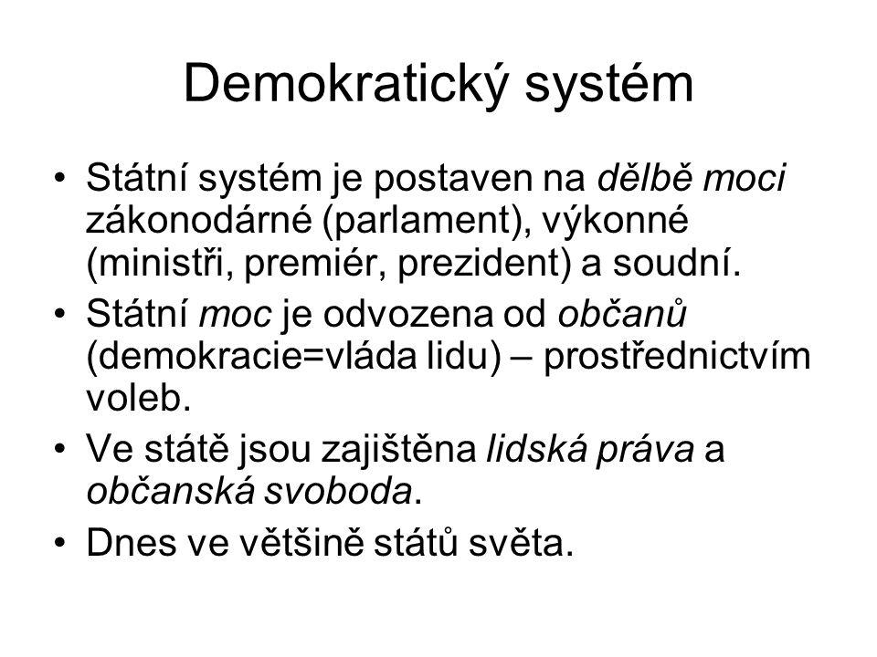 Demokratický systém Státní systém je postaven na dělbě moci zákonodárné (parlament), výkonné (ministři, premiér, prezident) a soudní. Státní moc je od