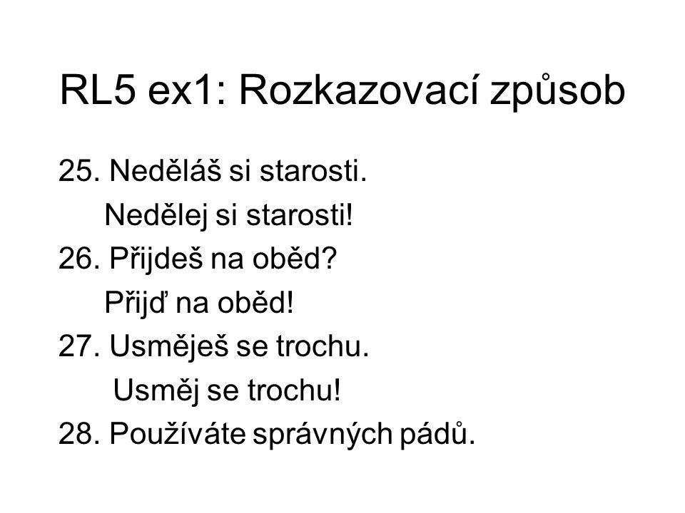 RL5 ex1: Rozkazovací způsob 25. Neděláš si starosti.