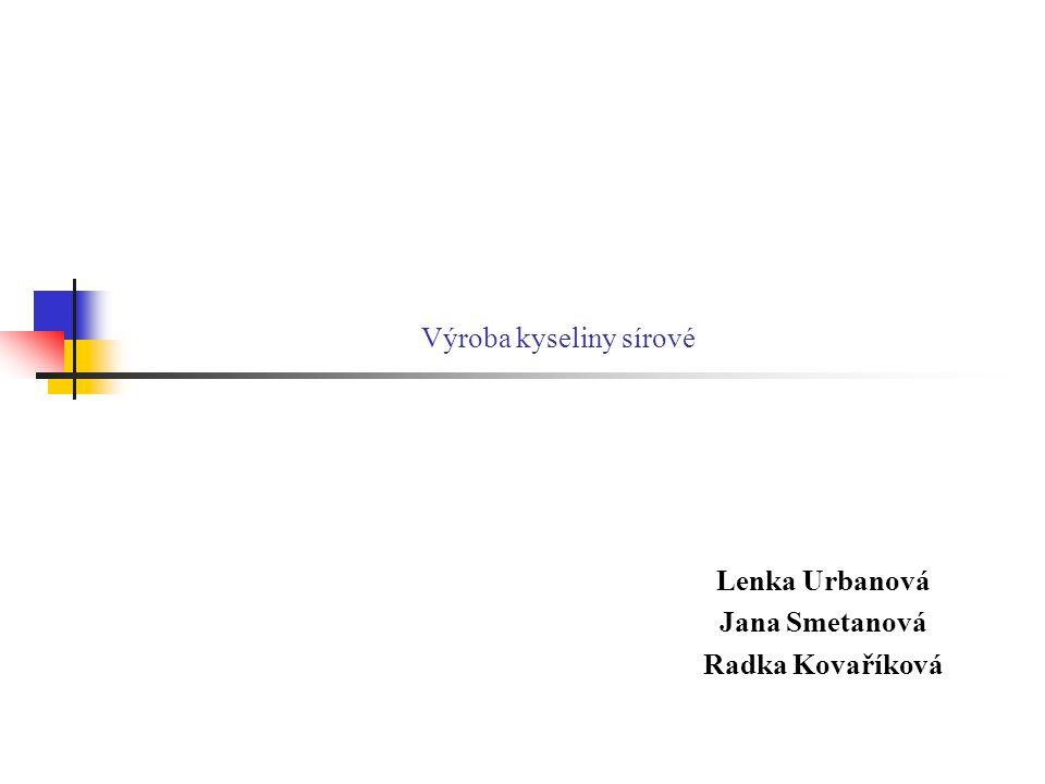 Výroba kyseliny sírové Lenka Urbanová Jana Smetanová Radka Kovaříková