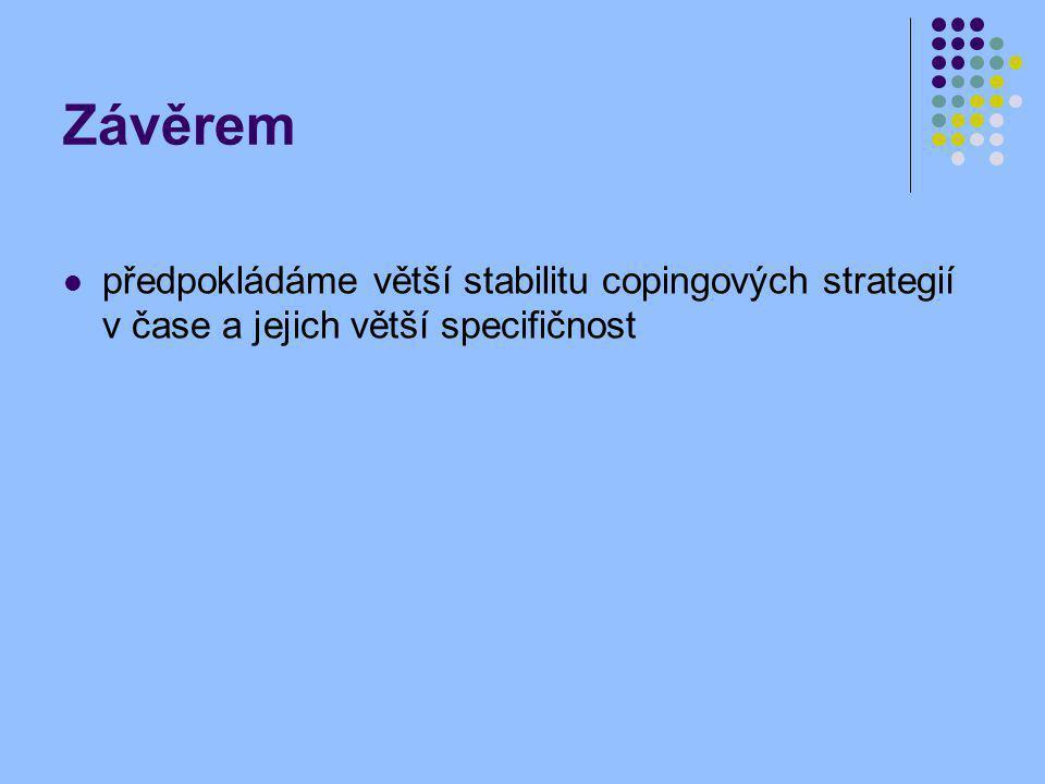 Závěrem předpokládáme větší stabilitu copingových strategií v čase a jejich větší specifičnost