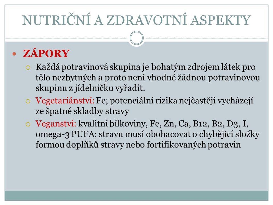 NUTRIČNÍ A ZDRAVOTNÍ ASPEKTY ZÁPORY  Každá potravinová skupina je bohatým zdrojem látek pro tělo nezbytných a proto není vhodné žádnou potravinovou s