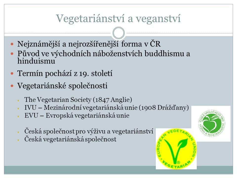 Vegetariánství a veganství Nejznámější a nejrozšířenější forma v ČR Původ ve východních náboženstvích buddhismu a hinduismu Termín pochází z 19. stole