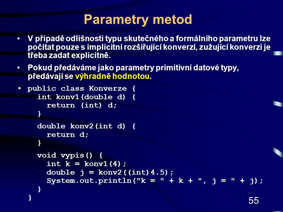 55 Parametry metod V případě odlišnosti typu skutečného a formálního parametru lze počítat pouze s implicitní rozšiřující konverzí, zužující konverzi