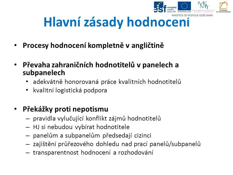 Hlavní zásady hodnocení Procesy hodnocení kompletně v angličtině Převaha zahraničních hodnotitelů v panelech a subpanelech adekvátně honorovaná práce