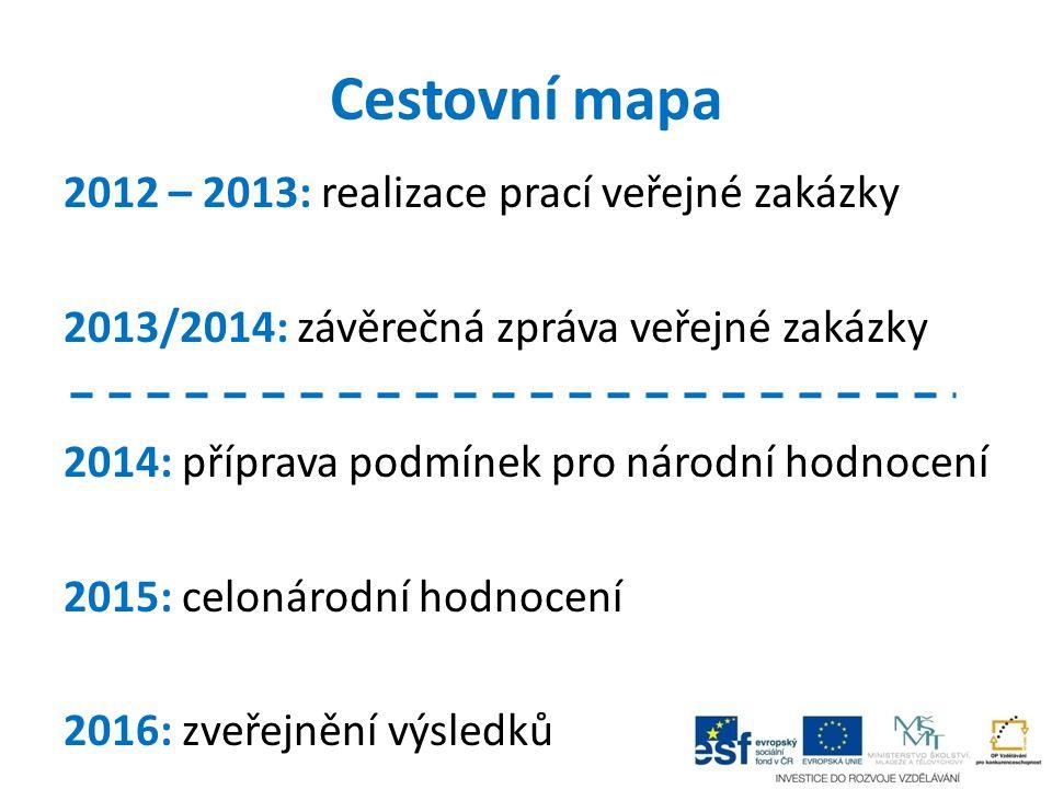 Cestovní mapa 2012 – 2013: realizace prací veřejné zakázky 2013/2014: závěrečná zpráva veřejné zakázky 2014: příprava podmínek pro národní hodnocení 2