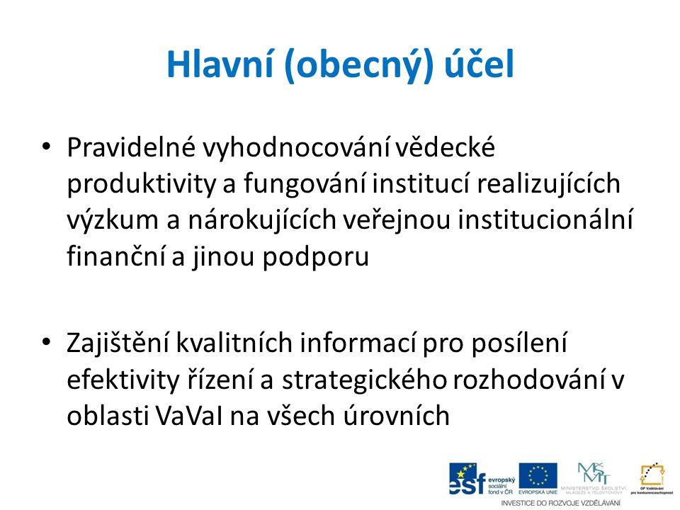 Hlavní (obecný) účel Pravidelné vyhodnocování vědecké produktivity a fungování institucí realizujících výzkum a nárokujících veřejnou institucionální
