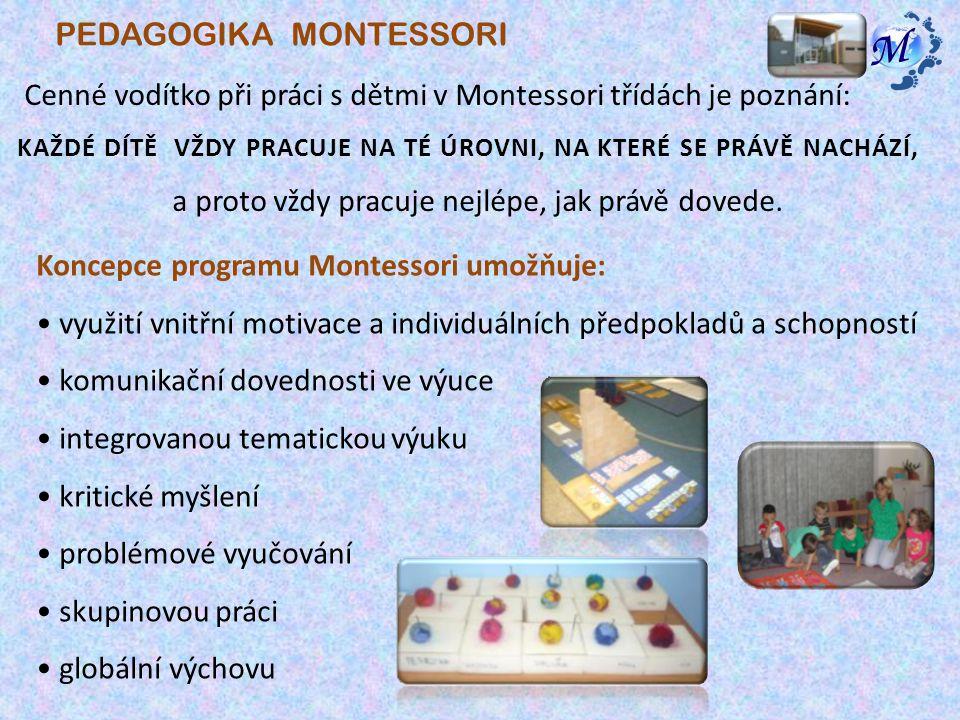 Cenné vodítko při práci s dětmi v Montessori třídách je poznání: KAŽDÉ DÍTĚ VŽDY PRACUJE NA TÉ ÚROVNI, NA KTERÉ SE PRÁVĚ NACHÁZÍ, a proto vždy pracuje nejlépe, jak právě dovede.