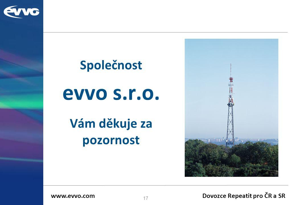Společnost evvo s.r.o. Vám děkuje za pozornost 17 www.evvo.com Dovozce Repeatit pro ČR a SR